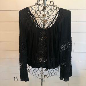 XOXO Black Lace Top